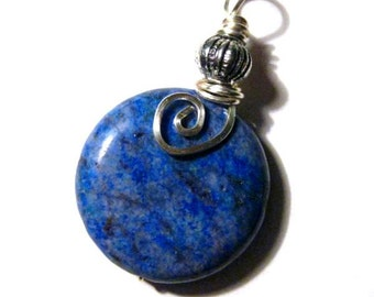 Denim Blue Pendant. Wire Wrapped Stone. Optional Cotton Chain. Sea & Sky
