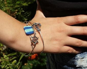 Nautical bracelets, stacking bangles, beach jewelry, stacking bracelets, sea blue, anchor, lifesaver, trendy jewelry