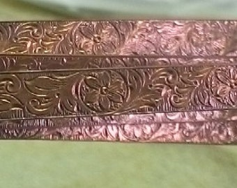 LoTs of 6 & 1/4 inches of  ~  PaTTERNED SoLID CoPPER STRIP~  Ready made for Copper Bracelets /Cuffs  ~ FDK