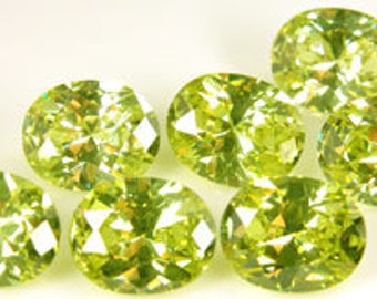 10x8mm Oval Faceted ~ NEON Lime Green CZ's ~ Cubic Zirconias ~  FDK