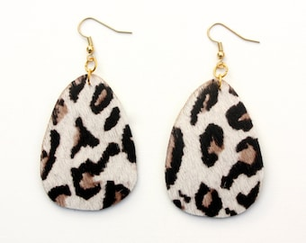 Leather Earrings - Leopard Print Calf Hair with Gold Nickel Free Ear Wires