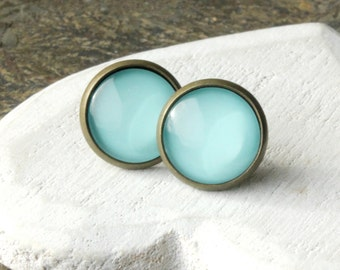 Blue Post Earrings Blue STUDS Pale Blue Posts or Blue Clip On earrings gift for Girls Powder Blue Small blue earstuds round domed stud E610