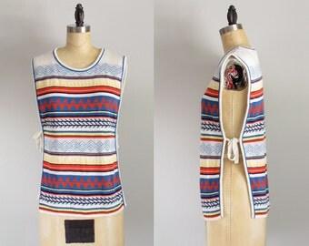 70s hippie chic vivid navajo strip summer festival smock sweater vintage top small