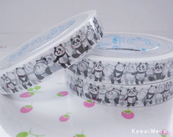 Kawaii Deco Tape - Dancing Panda 1 PC /  1.5cm wide x 25m (0.7in x 27 yards) - (PN141410)