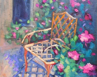 """Chair Painting, Garden Painting, Daily Painting, Small Oil Painting, In the Garden by Carol Schiff 8x8x1.5"""""""