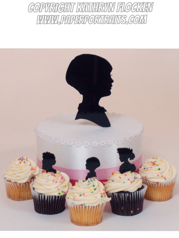 Items similar to Birthday Cake Topper Custom Silhouette ...