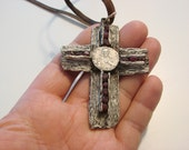 1   Heavy  Jesus Christ Crucifix   Christianity Cross Made in Silver  & solid bronze silver plated with Ruby