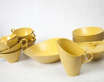 Vintage Mustard Yellow Melamine Dishes, set of 19 dishes