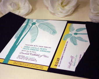 SAMPLE Palm Tree Pocketfold Wedding Invitations. Ocean Beach Destination Wedding Invite