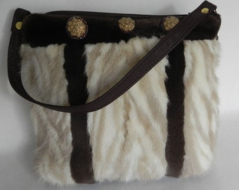 Pastel and tourmaline mink purse by Opulent Handbags