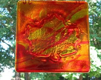 Kilncarved Fused Glass  Red and Amber Maple Leaf or Orange Pumpkin Suncatcher