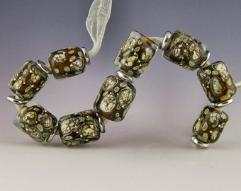 set of 9 rootbeer ivory & copper green with fine silver handmade lampwork glass beads graduated short tubes or cylinders - Microscopic