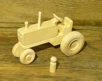 Wood Toy Farm Tractor Wooden Toys Farming Toys Waldorf Pretend Kids Boys Childs Birthday Gift Present