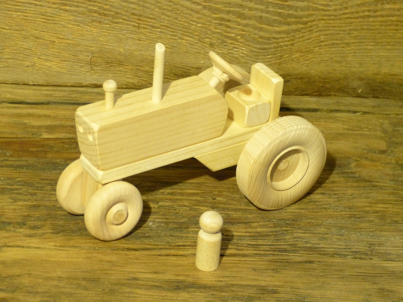 wood toy farm tractor wooden toys farming toys waldorf pretend. Black Bedroom Furniture Sets. Home Design Ideas