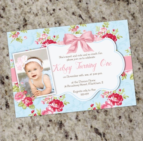 Girl 1st birthday invitation shabby chic 1st birthday invitation il570xn filmwisefo