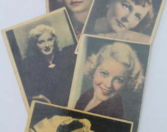 5 Vintage Movie Stars Cigarette Tobacco Cards Collectible
