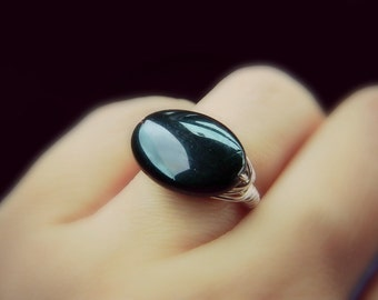 Black Onyx Ring. Onyx Oval Ring. Elegant Flat Smooth Ring. Dark Night Ring. Silver Rings, Geometric, Jewelry Rings, Gifts, Cocktail Rings