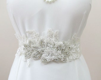 Rhinestone Crystal Beaded Bridal Sash Wedding  Belt