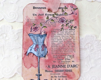 Tags, Mannequin Paris Gift Tags, French Favor Tags, Lingerie Bridal Shower Tags, Birthday, French Corset, Tea Party, Handmade Australia