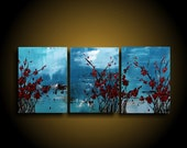 Abstract Painting. Large. Asian Painting. Modern Art. Original. Contemporary Painting. Huge 24 x 52 Art Artwork Blue Turquoise Red blossoms