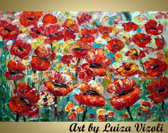 Original Modern Abstract Red Poppies Palette Knife Signature Impasto Oil Large Painting by Luiza Vizoli
