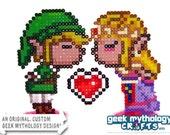 Nintendo Link and Zelda Kissing Geek Gamer Wedding Cake Toppers