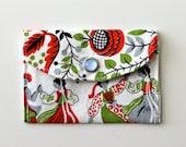 Women's Wallet - Fabric Credit Card Holder - Dutch motif - white
