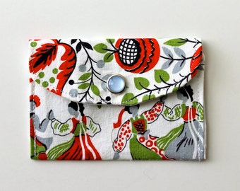 Women's Wallet - Fabric Credit Card Holder - Dutch motif - white
