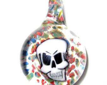 Skull Milli & Mixed Frit - Handblown Boro Glass Pendant