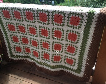 Persimmon Hill Handmade Crochet Granny Square Afghan FREE SHIPPING