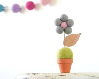 Grey & Pink Flower Nursery Decor, Children Baby Kid's Room Nursery Art, Felt