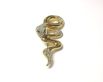 Beautiful vintage 80s gold tone and rhinestone snake brooch