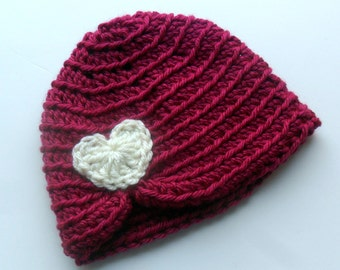 Baby girl Hat, Crochet Baby Turban Hat, Crochet Infant Hat with Heart, Raspberry and Cream, Baby Beanie. MADE TO ORDER in your size request