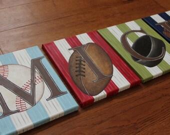 "8"" x 10"" Custom Personalized Name Wall Sports Baseball Soccer Golf Basketball Football Canvas Art Boys Bedding Room (price per letter)"