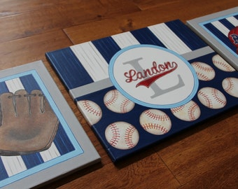 Set of 3-Baseball Vintage Sports Collection Blue Bedroom Wall Decor Mural inspired Junior Varsity Red Sox Bedding Canvas Paintings