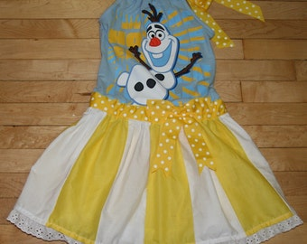 Last One  Girls dress made with Authentic Disney Store Olaf from Frozen T-shirt