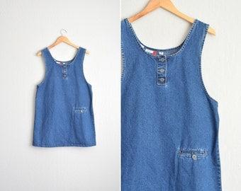 vintage '90s blue DENIM sleeveless SHIFT JUMPER. size l.
