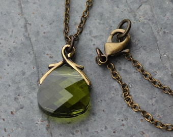 Olivine green briolette antique brass necklace, olive green Swarovski crystal - free shipping USA- fall autumn colors - moss green & brown