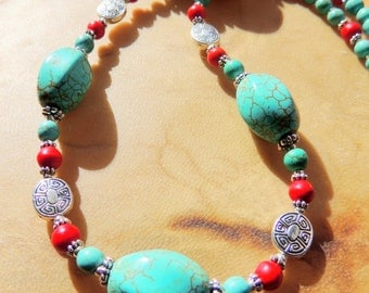 Turquoise and Red Coral Southwestern Style Necklace,Native Inspired Turtle Totem Gemstone Necklace, Southwestern