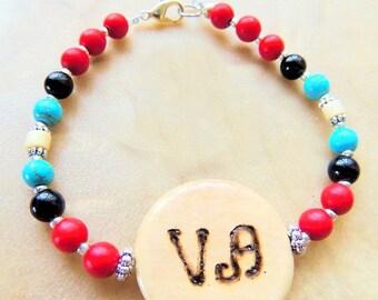 Cherokee Language, Peace Bracelet, Magnesite Jewelry, Red and Black, Bone Jewelry, Handcrafted Jewelry, Native Style Jewelry, Tribal Jewelry