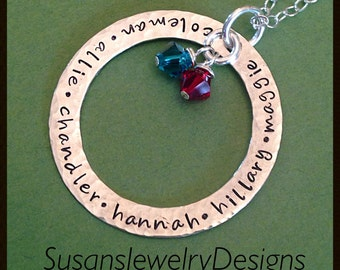 Family Circle Necklace - sterling silver 1 sided washer - choice of chain - custom Swarovski crystals