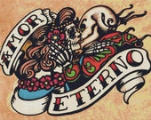 Modern Cross Stitch Kit ' Amor Eterno ' By Illustrated Ink - Day of the Dead Needle Craft Kit