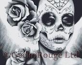 Dia De Los Muertos Cross Stitch Kit by Carissa Rose 'Felicity' Sugar Skull Cross Stitch, Day of the Dead Cross Stitch, Sugar Skull Stitch