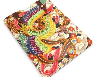 Leather iPad Air Case, iPad Air 2 Case, iPad 4 Case - Japanese Phoenix Tattoo Design