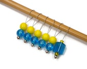 Beaded Stitch Markers Set, Knitting. Snag Free, Blue, Yellow, Gift for Knitter, TJBdesigns