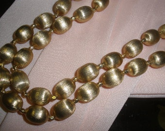free shipping, Trifari goldplated necklace, metal beads, adjustable, SIGNED TRIFARI