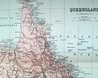 1901 Antique Map of Queensland, Australia
