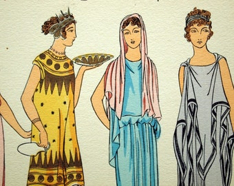 1925 French Art Deco Hand Coloured Pochoir Print on Greco-Roman Women's Fashions. Plate 1
