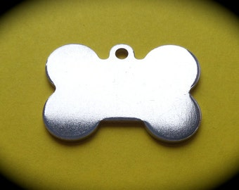 """20 - 1-3/8 """" x 1"""" Dog Bone Charms 14 Gauge  with Hanging Loop Pure Food Safe Aluminum Qty 20"""