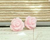Pink Rose Earring Rose Stud Earring Rosebud Earrings Pink Stud Earring Hypoallergenic Surgical Steel Stud